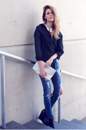 H&M necklace - Zara jeans - H&M top - Steve Madden wedges