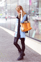 Steve Madden boots - denim Zara dress - lysse leggings - color block asos bag