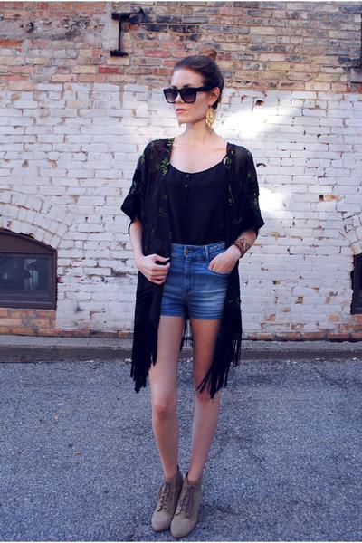 H&M top - kimono Urban Outfitters top - Zara shorts