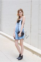 Steve Madden boots - denim Mango dress - lace Sugarlips bra