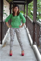 red Payless wedges - green Bayo sweater - teal Zara pants