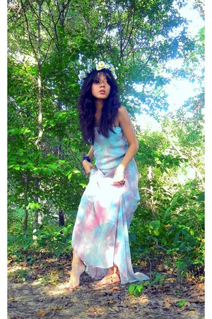 tube maxi Gypsy 05 dress - floral crown handmade accessories