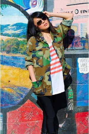 camo Urban Outfitters jacket - flag Wildfox t-shirt