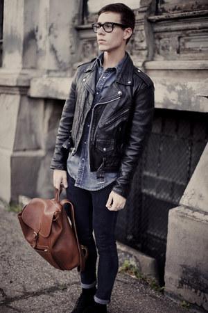 leather biker jacket - tweed oxford asos shoes - H&M jeans - denim shirt