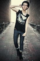 dr marten boots - Kent Denim jeans - bowler Urban Outfitters hat - diy shirt