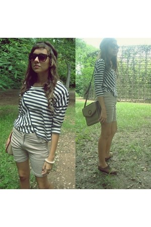 black Za ra blouse - cream Bershka shorts