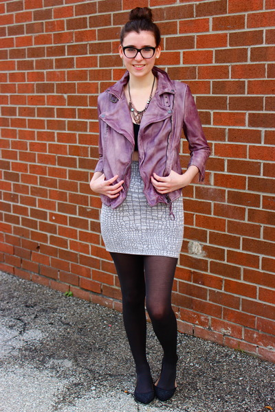 amethyst leather jacket Muubaa jacket - heather gray bodycon BCBG skirt