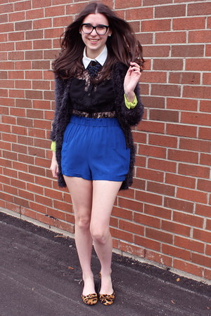 black lace top Lush shirt - blue Aritzia shorts - brown fur Prada flats
