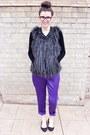 Purple-silk-vince-camuto-pants-black-fur-vest-cynthia-rowley-vest