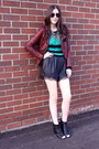 Black-lace-bcbg-shorts-brick-red-leather-jacekt-muubaa-jacket