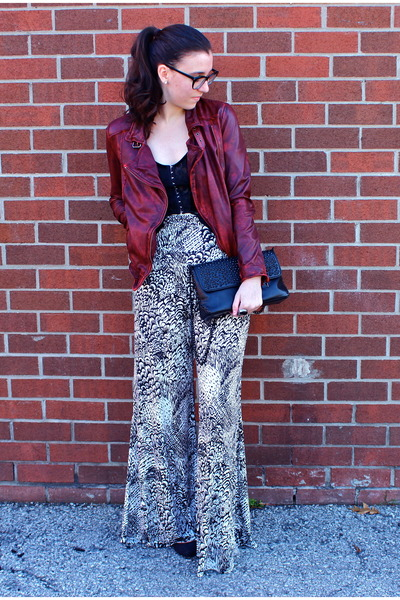 brick red leather jacket Muubaa jacket - black Zara bag - black H&M top