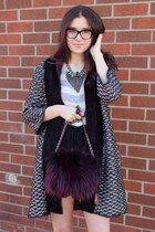 magenta Prada bag - black Zara sweater - dark gray Dannijo necklace