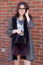 magenta Prada bag - black Zara sweater - dark gray Dannijo necklace