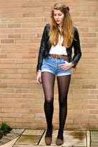 black leather H&M jacket - white Forever 21 shirt - blue denim vintage shorts