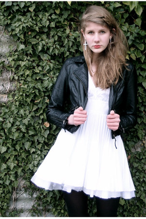 white Jones &amp; jones dress - black leather H&amp;M jacket