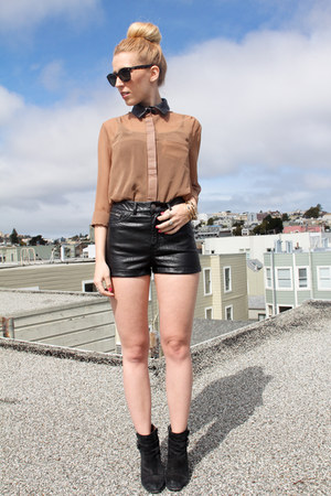 black Lucky Brand boots - black faux leather H&M shorts