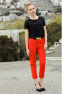 Black-studded-banan-republic-shirt-black-kelsi-dagger-heels-red-zara-pants-