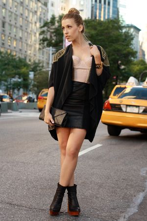 beige bustier borrowed top - black brisbane Jeffrey Campbell boots