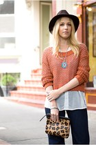 navy custom indi custom jeans - brown vintage hat - burnt orange H&M sweater