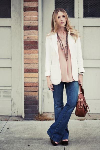 blue love story JBrand jeans - white H&M blazer - brown Marc by Marc Jacobs bag