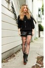 Black-american-apparel-sweater-black-bird-shorts-black-jeffrey-campbell-boot