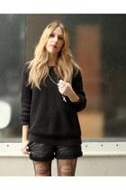black American Apparel sweater - black Bird shorts - black Jeffrey Campbell boot