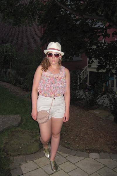 pink Zara shirt - white American Apparel shorts - gold Spring shoes - white zell