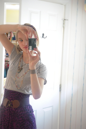 purple H&amp;M skirt - gray Gap top - purple Old Navy belt - gray Kenneth Cole shoes