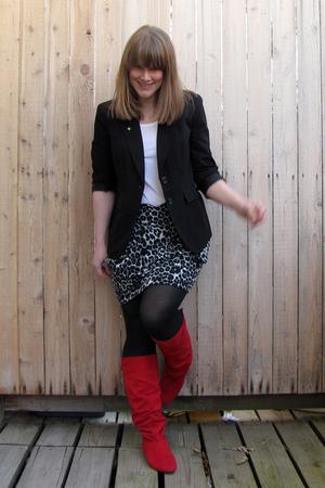 JCP skirt - Payless boots - JCP blazer - Target shirt