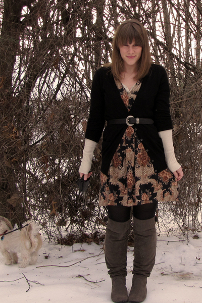 black H&M sweater - BMoss dress - Target boots - Target shirt