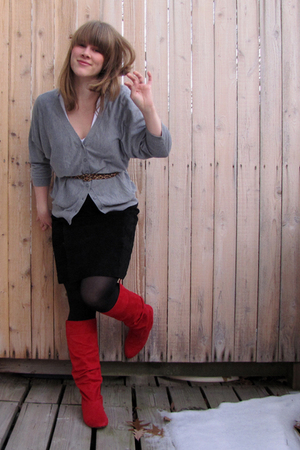 red payless boots - black thrifted skirt - silver H&M sweater - H&M belt