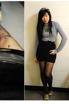 blue Zara top - black H&M skirt - black random from Hong Kong tights - beige BCB