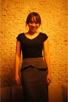 charcoal gray peplum skirt Express skirt - black top Jamy top