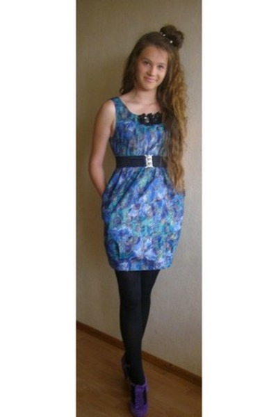 Blue dress black tights Quotes