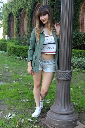 white ny-la brandy melville top - army green utility jacket Rubbish jacket