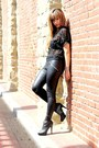 Black-pleather-silence-noise-leggings-black-studded-booties-zigisoho-boots