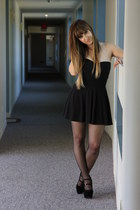 black sheer tights H&M tights - black H&M skirt - black Nameless top