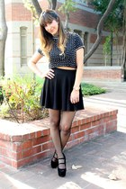 black H&M skirt - black sheer H&M tights - black Topshop top - black heels
