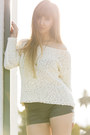 Off-white-off-shoulder-brandy-melville-sweater
