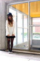 ivory chunky sweater H&M sweater - black fedora D&Y hat