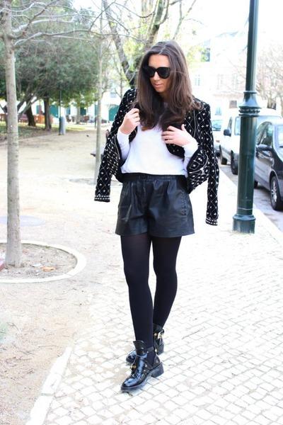 black balenciaga boots - black Zara coat - black Zara shorts
