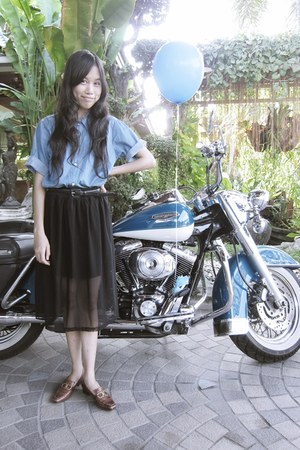 brown shoes - black belt - black skirt - sky blue top