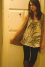 White-forever-21-shirt-beige-forever-21-vest-black-forever-21-leggings-sil