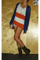hollister shorts - CharlotteRusse boots - color blocking H&M top