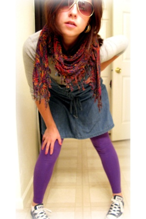 hollister shirt - Goodwill scarf - H&M dress - American Apparel tights