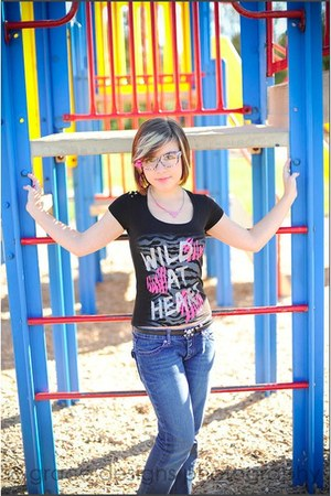 jeans - Wet Seal shirt - rue21 glasses