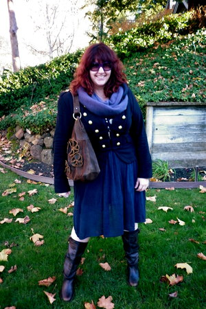 INC jacket - Max Studio dress - Frye boots - Anthropologie bag - free people sca