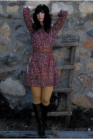 brick red dress - mustard tights - dark brown boots