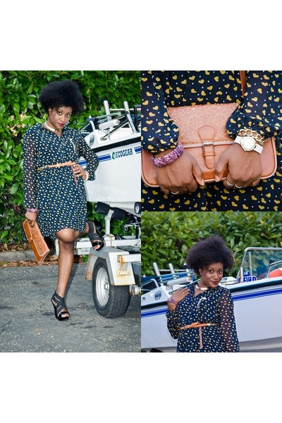 H&M bracelet - heart print Zara dress - Segue bag - elastic straps Bata heels