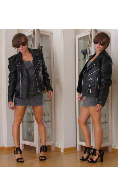 vintage jacket - H&amp;M dress - Primadonna shoes - vintage sunglasses